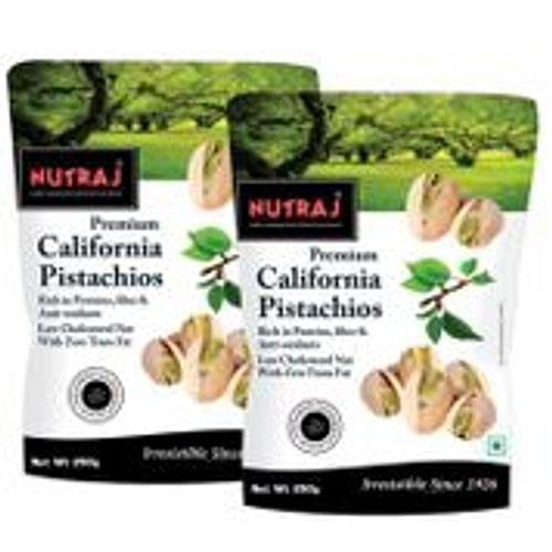 Nutraj California Roasted and Salted Pistachios, 250gm (Pack of 2)