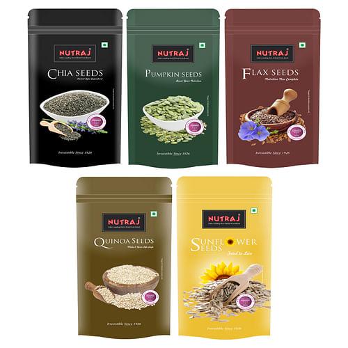 Nutraj Super Saver Pack 1000g (Chia seeds+sunflower Seeds+Flax SeedsPumpkin Seeds+Quinoa Seeds)