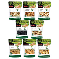 Nutraj Dry Fruits Combo with Pistachios, Almond, Cashew, Black and Golden Raisins, Anjeer, Walnut Kernel, Dried Apricot (100 g Each, 800 g)- Pack of 8