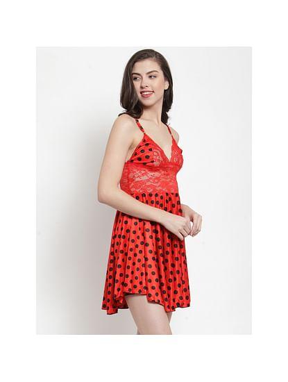Secret Wish Women's Satin Red Printed Babydoll (Free Size)
