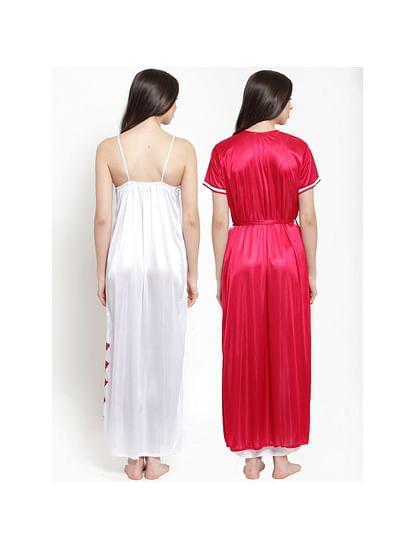 Secret Wish Women's Pink-White Satin Solid Robe Set (Free Size)