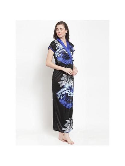 Secret Wish Women's Blue Satin Printed Nighty (Free Size)
