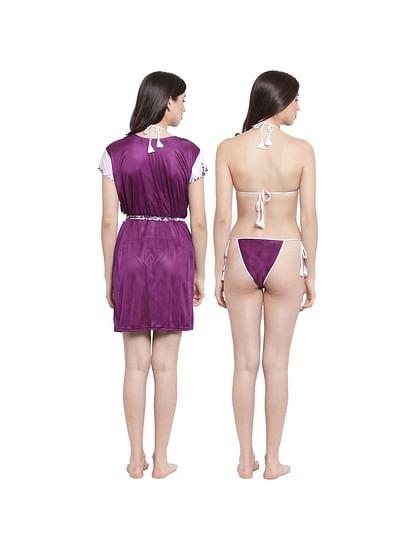 Secret Wish Women's Purple Satin Printed Robe Set (Free Size)