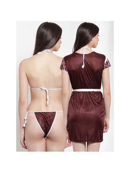 Secret Wish Women's Brown Satin Printed Robe Set (Free Size)