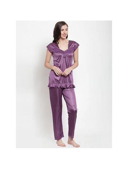 Secret Wish Women's Purple Solid Night Suit