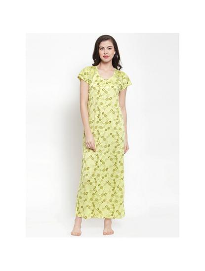 Secret Wish Women's Green Hosiery Printed Nightdress