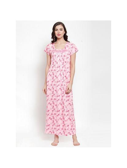 Secret Wish Women's Hosiery Pink Printed Nighty (Free Size)