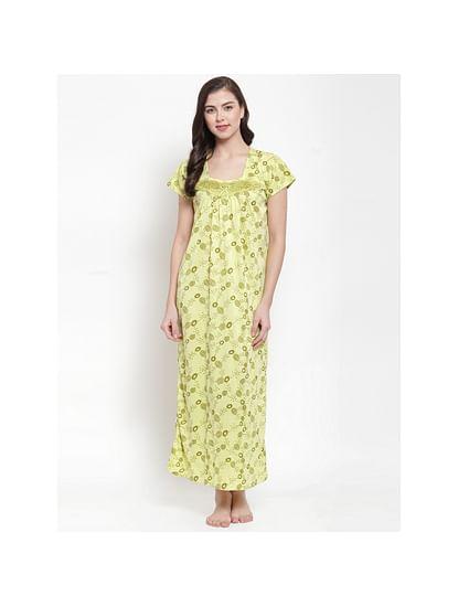 Secret Wish Women's Hosiery Olive Green Printed Nighty (Free Size)
