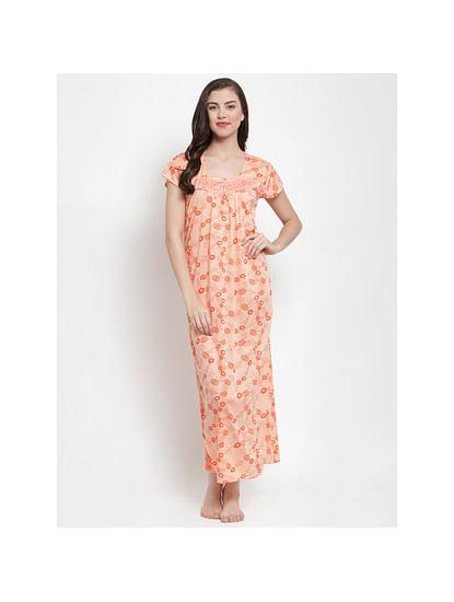 Secret Wish Women's Peach Hosiery Printed Nighty (Free Size)