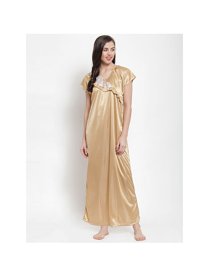 Secret Wish Women's Satin Golden Solid Nighty (Free Size)