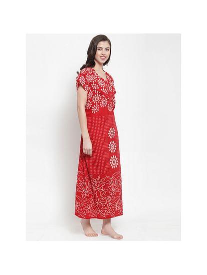 Secret Wish Women's Red-Off-White Printed Maternity Nightdress