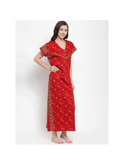 Secret Wish Women's Cotton Red Printed Maternity Nighty (Free Size)