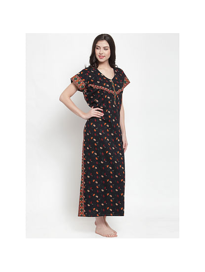 Secret Wish Women's Cotton Black Printed Maternity Nighty (Free Size)