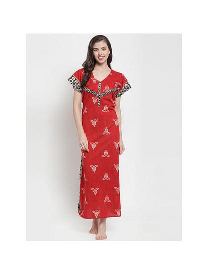 Secret Wish Women's Red Printed Maternity Nightdress