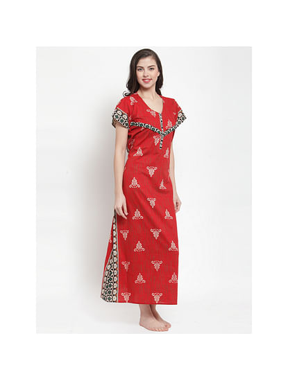 Secret Wish Women's Red Printed Maternity Nightdress