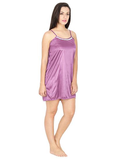 Secret Wish Women's Satin Mauve Babydoll Dress (Mauve, Free Size)