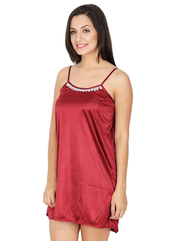 Secret Wish Women's Maroon Satin Babydoll Nightdress