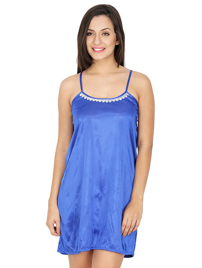 Secret Wish Women's Blue Satin Babydoll Nightdress
