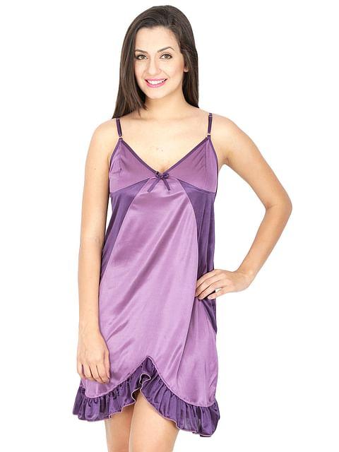 Secret Wish Women's Purple Satin Babydoll Nightdress