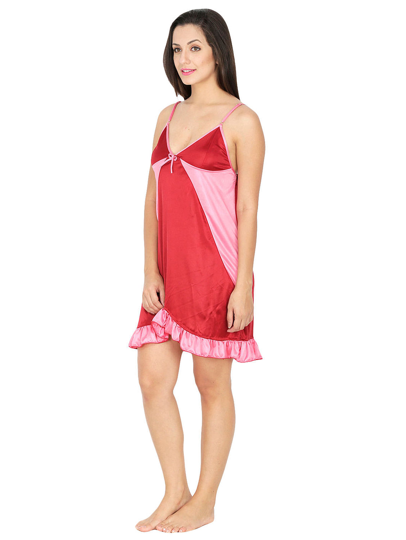 Secret Wish Women's Satin Red Babydoll Dress (Red, Free Size)