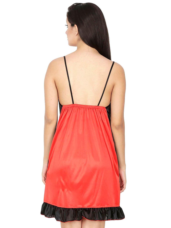 Secret Wish Women's Satin Orange Babydoll Dress (Orange, Free Size)