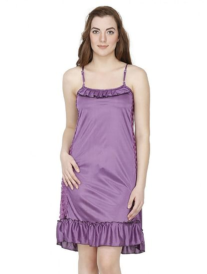Secret Wish Satin Purple Babydoll Night Dress