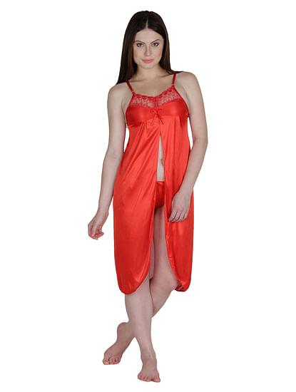 Secret Wish Women's Satin Red Babydoll Dress (Free Size, BD-29)