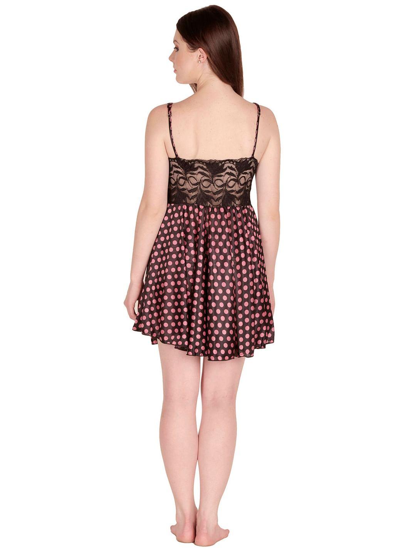Secret Wish Women's Satin Black, Beige Babydoll Dress (Free Size, BD-33)