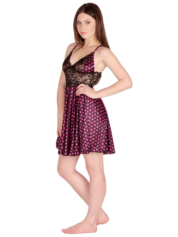 Secret Wish Women's Satin Pink Babydoll Dress (Free Size, BD-34)