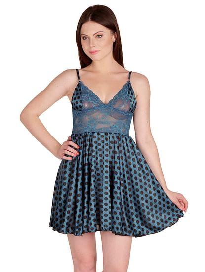 Secret Wish Women's Satin Blue Babydoll Dress (Free Size, BD-36)
