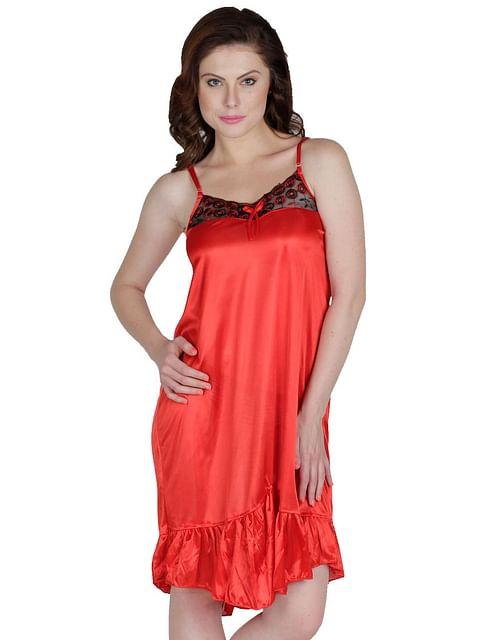Secret Wish Women's Satin Pink Babydoll Dress (Free Size, BD-54)