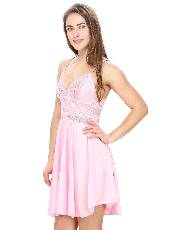 Secret Wish Women's Pink Satin & Lace Babydoll