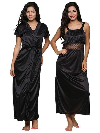 Secret Wish Women's Satin Black Nighty, Nightdress Set Of 2 (Free Size)