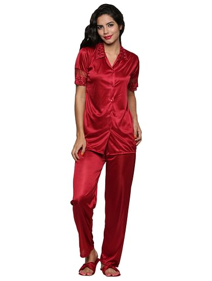 Secret Wish Women's Satin Red Nightsuit Set Of 2 (Free Size)