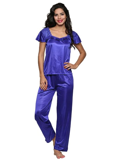 Secret Wish Women's Satin Blue Nighty, Nightdress Set Of 4 (Free Size, BI-19-Purple-FS)
