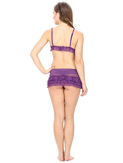 Net and mesh Purple Lingerie Dress with Lacy Thong