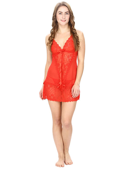 Sheer Babydoll With Lace Details In Red