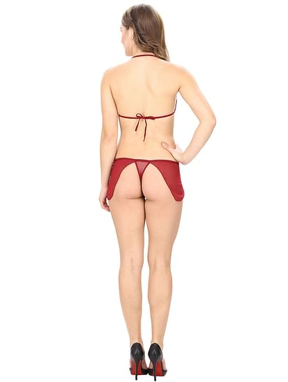 Mesh and Lace Maroon Lingerie Set