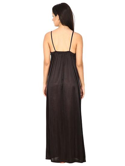 Secret Wish Women's Satin Orange Long Nighty with Robe (Free Size)