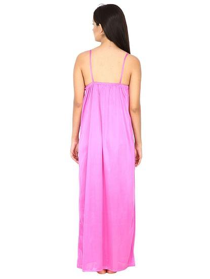 Secret Wish Women's Pink Maxi Nightdress with Robe
