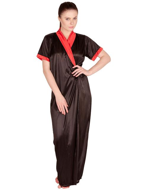 Secret Wish Women's Satin Red, Black Robe, Housecoat (Free Size, HC-49)