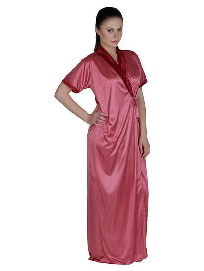 Secret Wish Women's Satin Maroon, Purple Robe, Housecoat (Free Size, HC-50)