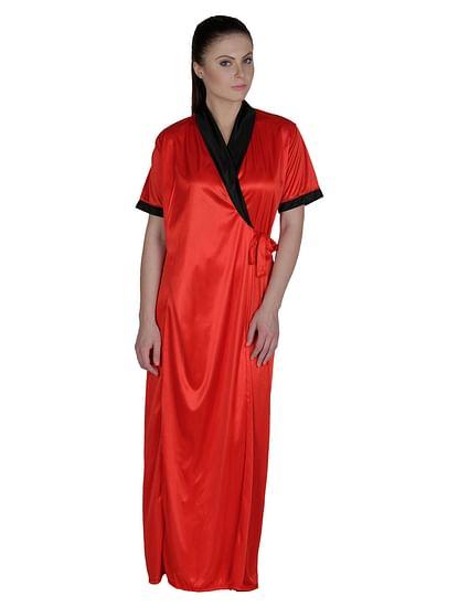 Secret Wish Women's Satin Black, Red Robe, Housecoat (Free Size, HC-51)