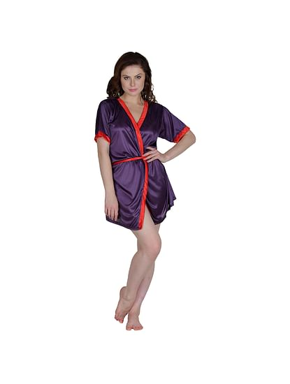 Secret Wish Women's Satin Red, Purple Robe, Housecoat (Free Size, HC-55)