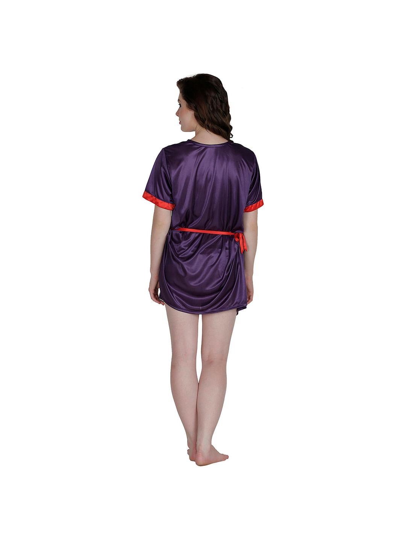 Secret Wish Women's Satin Red, Purple Robe, Housecoat (Free Size, HC-55)