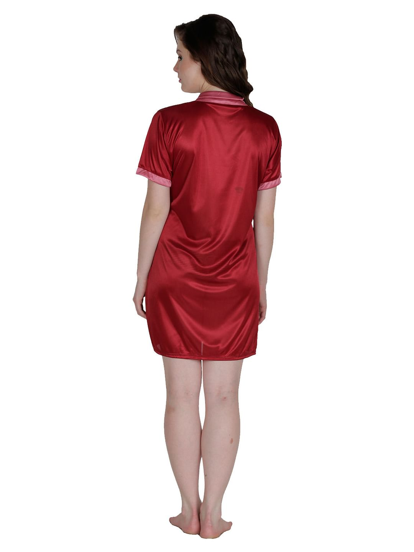 Secret Wish Women's Satin Beige, Maroon Robe, Housecoat (Free Size, HC-58)