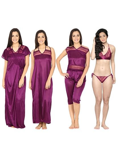 Secret Wish Women's Satin Purple Nighty, Nightdress Set Of 6 (Free Size)