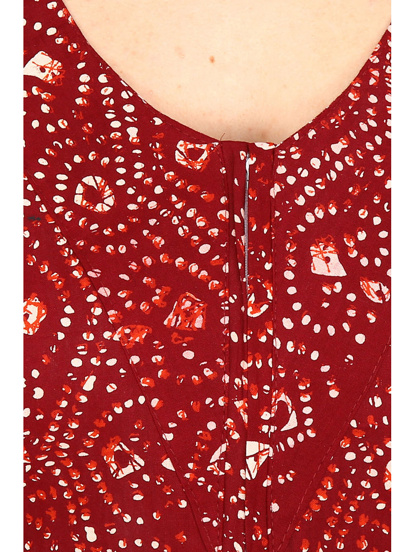 Secret Wish Women's Burgundy-Off-White Cotton Printed Maxi Nightdress