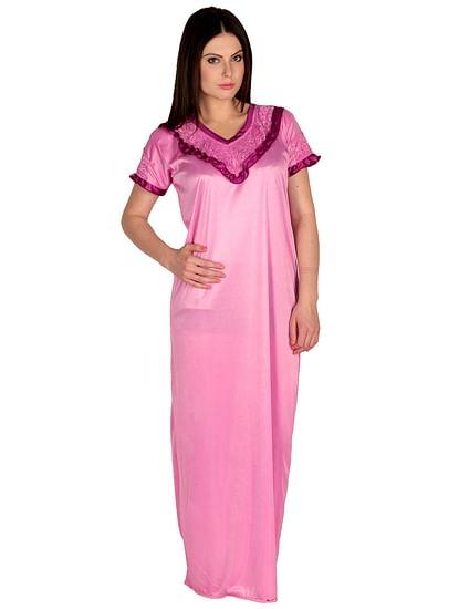 Secret Wish Women's Satin Pink Nighty, Nightdress (Free Size, NT-26)