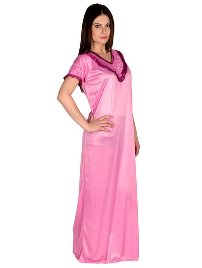 Secret Wish Women's Satin Pink Nighty, Nightdress (Free Size, NT-26)